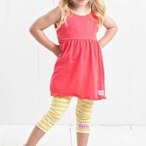 Ruffle Girl Matching Sets - Ruffle Girl Coral & Yellow Legging Capri Set
